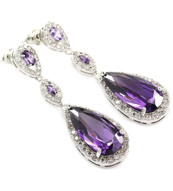 FC JORY Purple Amethyst Dangle Teardrop Crystal White Gold Plated CZ Bridal Earrings - CX122ET0E43