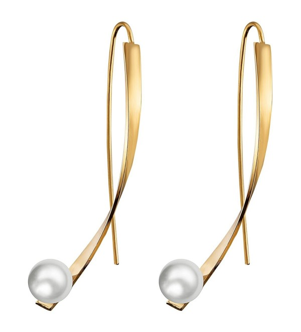 Threader Earrings Simulation Pearl Earrings Dangle Drop for Women Unique - gold - C0188TU3M2E