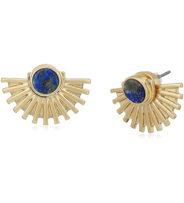 Danielle Nicole Aolani Stud Earrings - Worn Gold With Sodalite Lapis - CG17Z3C304Q