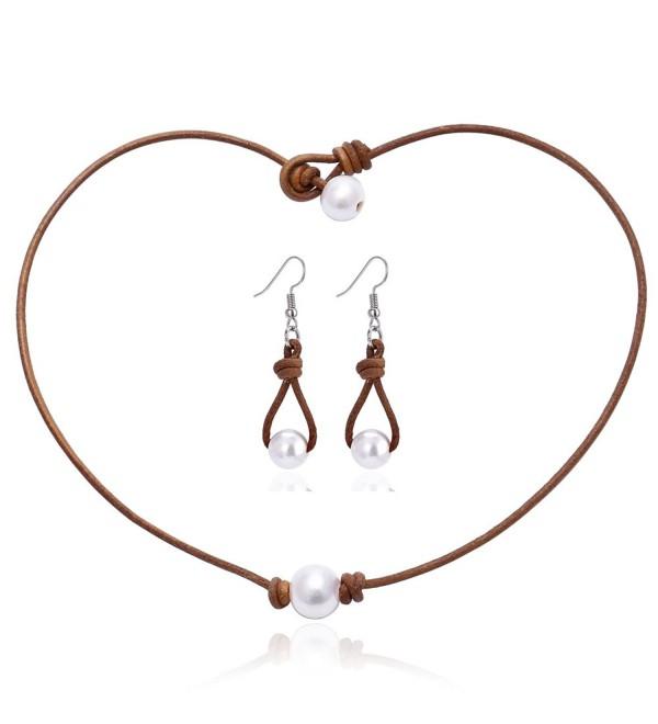 "Aobei One Cultured Freshwater Pearl Choker Leather Necklace Earring Set for Women Fine Jewelry 16""/18"" - CI186G36Y5U"