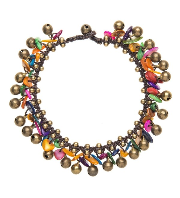81stgeneration Women's Brass Gold Tone Multi Colored Shell Bead Ankle Anklet Bracelet- 26 cm - CE1141I2R37