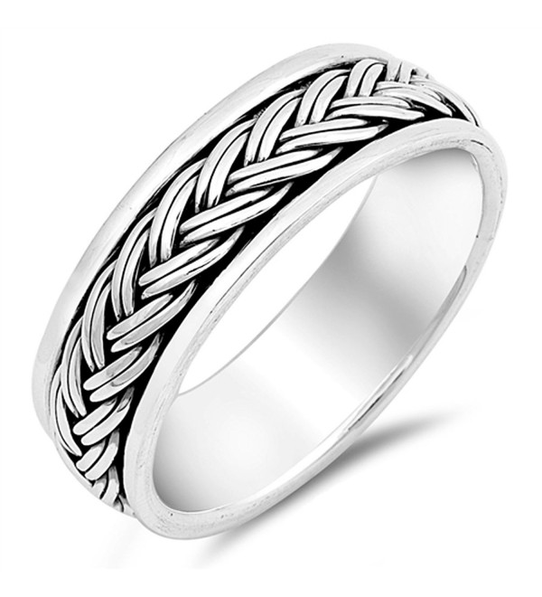 Spinner Rope Knot Design Ring New .925 Sterling Silver Wedding Band Sizes 7-13 - CD12NAJ7IPL