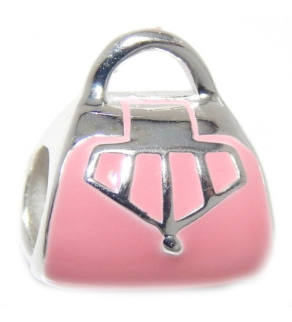 Pro Jewelry 925 Solid Sterling Silver Pink Purse Charm Bead - CG17XQ4W05X