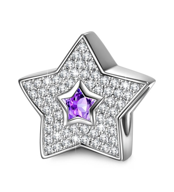 "NinaQueen ""Star Pave"" 925 Sterling Silver Purple Bead Charms - CT11Y2576KD"