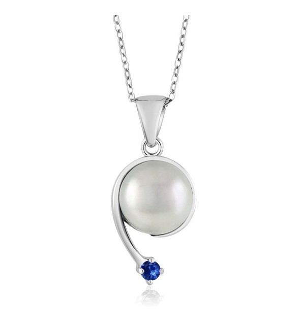 Blue Sapphire Cultured Freshwater Pearl 925 Sterling Silver Shooting Star Pendant - CJ12CJUSD45