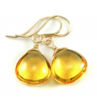 14k Gold Filled Simulated Citrine Earrings Smooth Heart Briolette Drops Yellow - CB11JMJVNMV