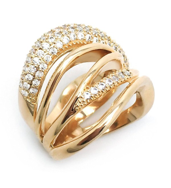 Sparkly Bride CZ Fashion Statement Ring Multi Rows Wide Band Gold Plated Women - CX12NA0R648