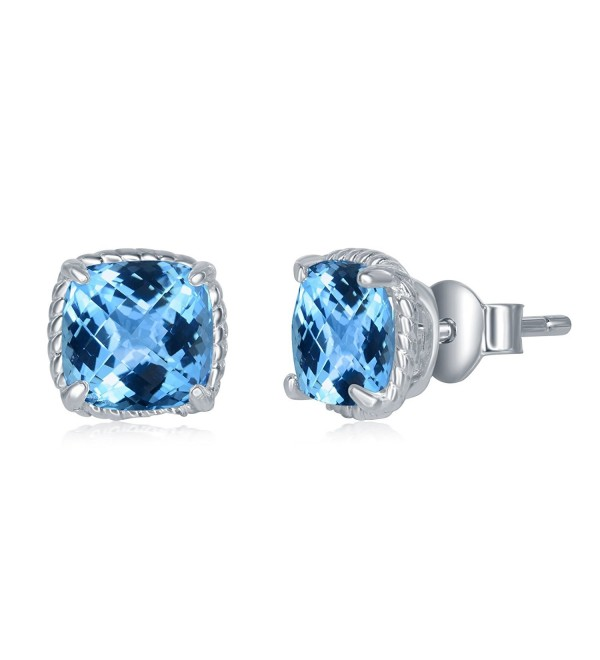 Sterling Genuine Fastened Birthstone Earrings - Blue Topaz - C2184H2LZSS