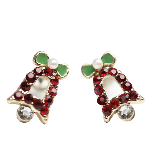 Penderie Lovely Little Rhinestone Jingle Bells Stud Earrings- 1 Pair- with Free Gift Box - CM1282B1B8P