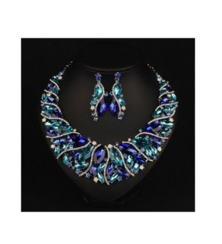 Hamer Bridal Costume jewelry Crystal Choker Pendant Bib Statement Charm Necklace and Earrings Sets - Blue - CN12NYIGCMF