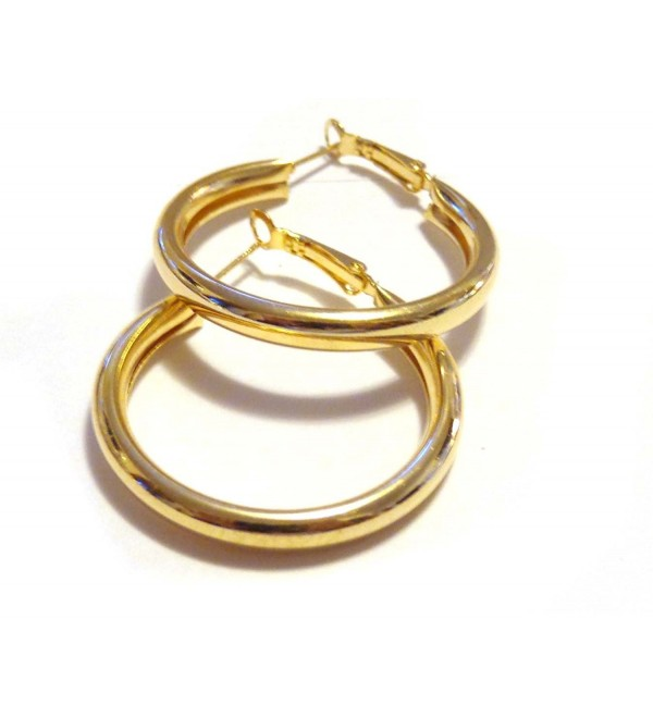 Medium Hoop Earrings Shiny Gold tone Round Hoop Earrings Lightweight 1.5 inch Hoop - CI12EF7QB0X