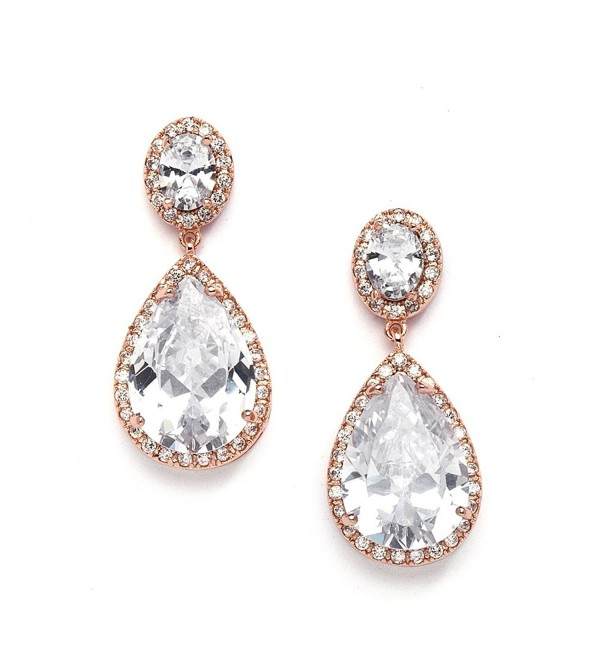 Mariell Earrings Oval Cut Pear Shaped Teardrop - Rose Gold Pierced - CT11X9D6MLX