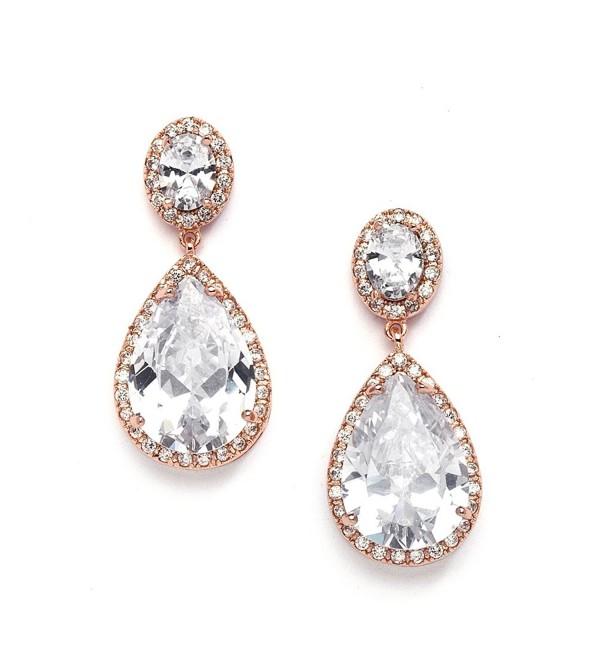 Mariell Earrings Oval Cut Pear Shaped Teardrop - Rose Gold Pierced - CT11X9D6MLX