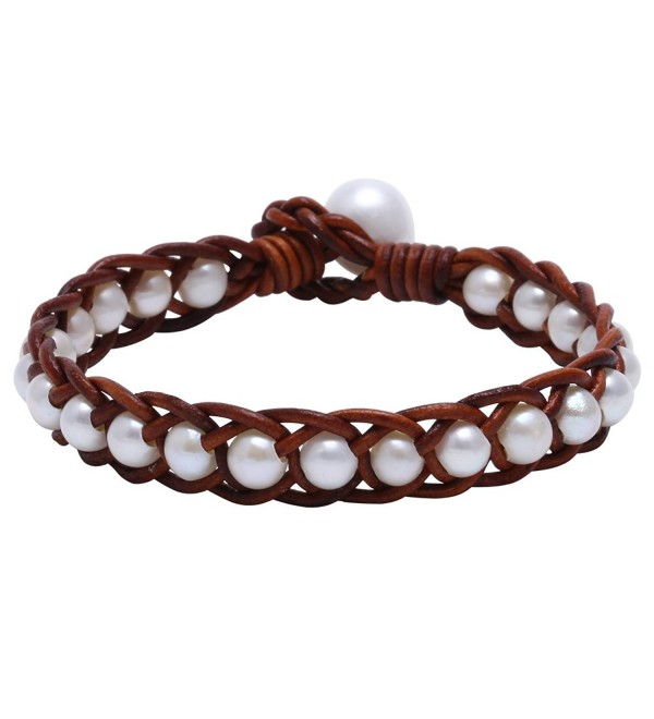 "Hand Braided White Freshwater Cultured Pearl Bead Bracelet with Genuine Leather Cord 7.8"" - Light Brown - CF12FVPVLZD"