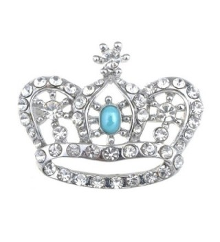Alilang Vintage Inspired England Royal Prince Queen Crown Crystal Rhinestone Pin Brooch - CK114V75WWL