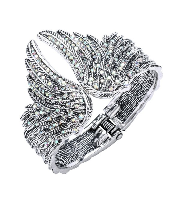Szxc Jewelry Women's Crystal Guardian Wings Hinged Bangle Bracelet - silver AB - CQ17YIX7KND