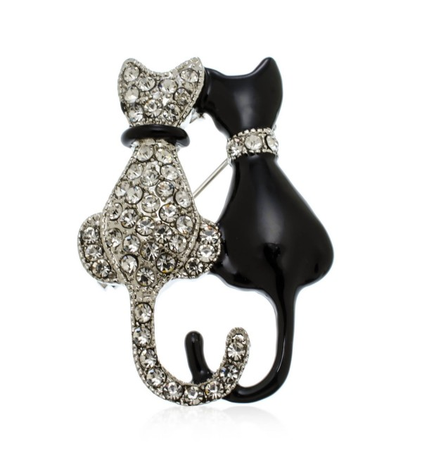 PammyJ Black and Crystal Double Twin Cat Brooch Pin - C812EXN9F2Z