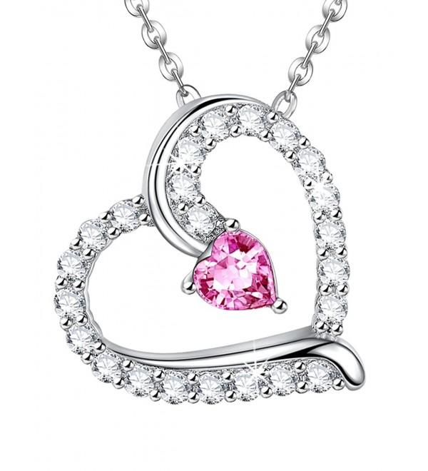 Anniversary Sapphire Swarovski Necklace Birthstone - Pink Sapphire Heart Pendant Necklace - CP1872Q8D8L