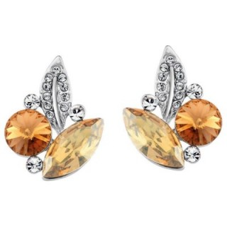 Neoglory Jewelry Platinum-plated Leaf Stud Post Earrings with Champagne Crystal - CD11B5W9GLN