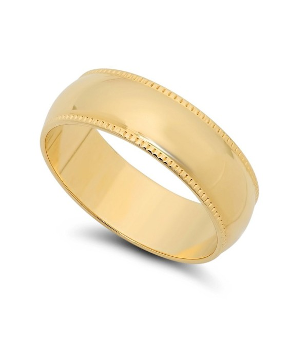 14k Yellow Gold Heavy Plated 6mm Milgrain Edged Domed Wedding Band + Microfiber Jewelry Polishing Cloth - CY11OO5JENX