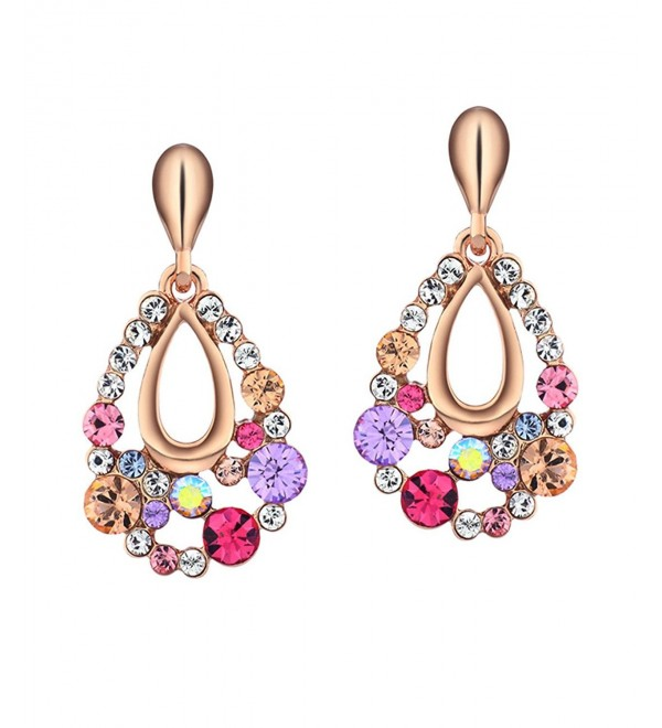 Neoglory Alloy Colorful Water Drop Earrings with Crystal- Christmas Gift - Pink - C311CLWZ4SZ