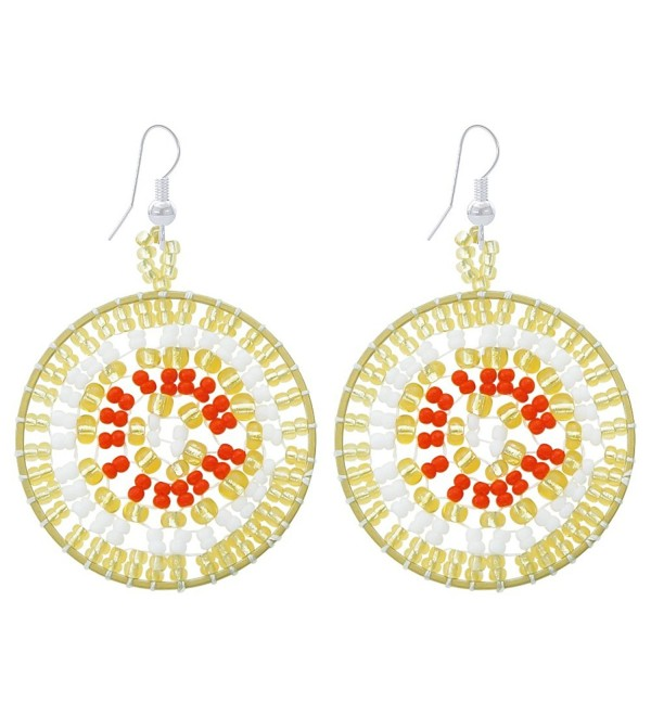 Handmade Bohemian Earrings Beadwork Jewelry - Yello and White - CV187D7XAMA