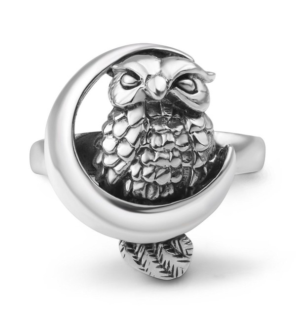 925 Oxidized Sterling Silver Owl Bird on Crescent Moon Band Ring Jewelry Size 6- 7- 8 - CZ1267R3O6N
