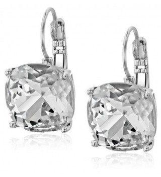 kate spade new york Kate Spade Earrings Small Square Leverback Earrings - Clear/Silver - CL110FXM35J