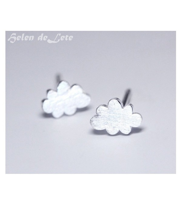Helen de Lete Simple Frosted Cloud Thunder Storm Sterling Silver Stud Earrings - CB12NH2Z0LE