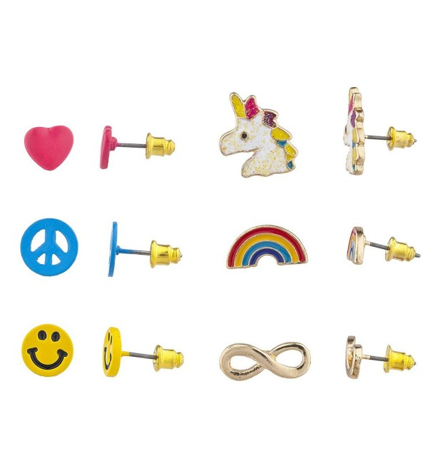 Lux Accessories Goldtone Unicorn Emoji Smiley Face Novelty Multi Earring Set 6PC - CT1864M460G