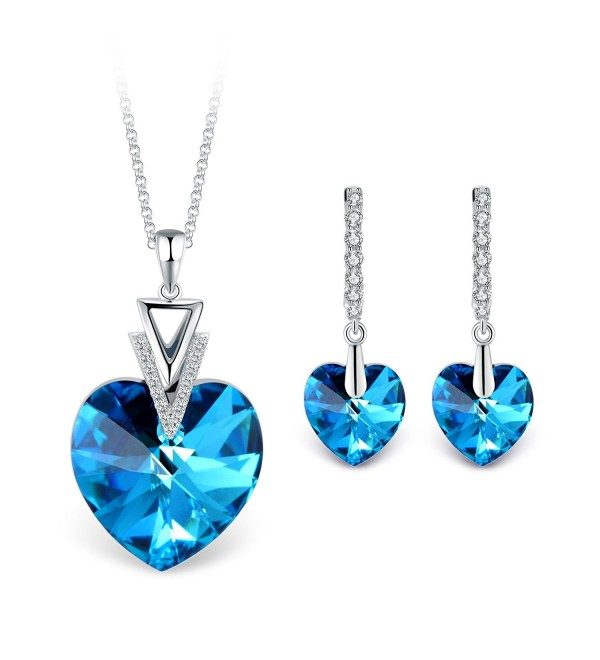 T400 Jewelers Swarovski Elements Necklace - Blue - C31802DQ2ZW
