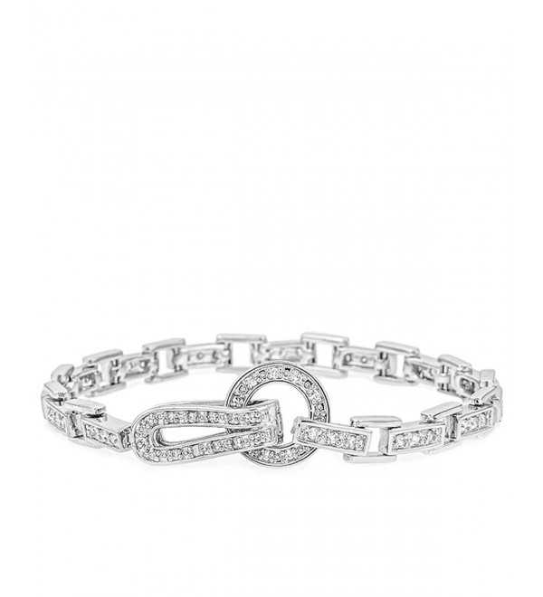 Genuine Rhodium Plated 7.25 Inch Bracelet with Round Cut Clear Cubic Zirconia - C7116FTMHBR