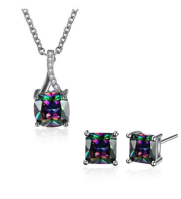Multicolor Zirconia Pendant Necklace Earrings - CY188ZG0MRH