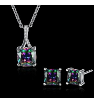 Multicolor Zirconia Pendant Necklace Earrings