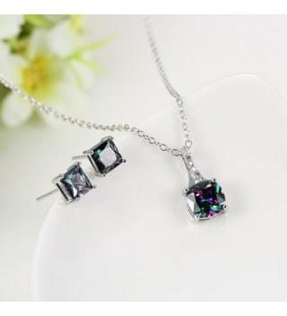 Multicolor Zirconia Pendant Necklace Earrings in Women's Pendants
