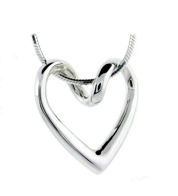 Necklace For Women Teen Girls - 14k White Gold Plated Open Heart Shaped Pendant - Gift - CE12IJPZTC3