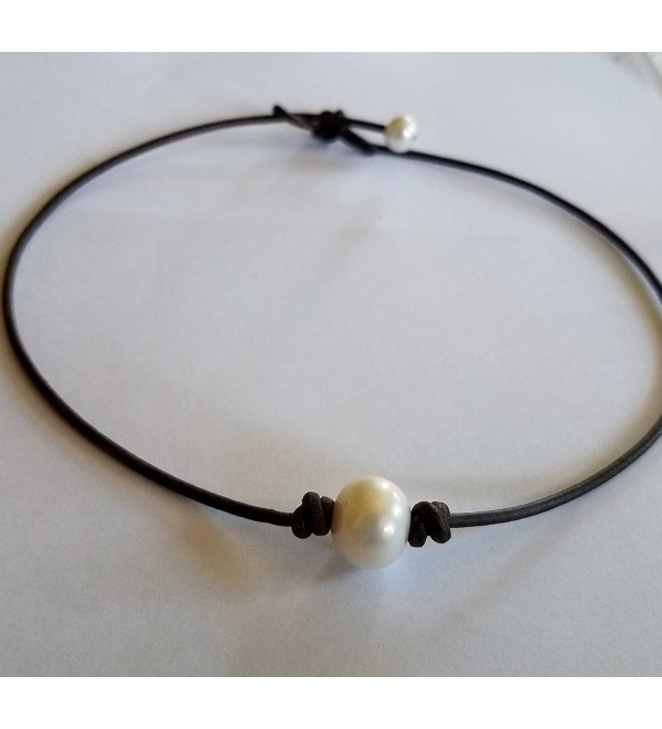 Seasidepearls30A Pearl and AAA Black Leather Choker/Necklace 16 inches Top Seller - CF124QVU9EH
