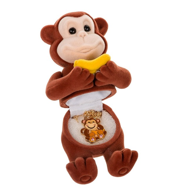Children's Monkey Pendant Necklace in Matching Jewelry Gift Box - CP11CS31RQP