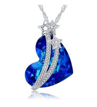 "ANCREU ""Heart of Ocean"" 925 Sterling Silver Necklace Love Heart Pendant Necklaces for Women - 3. Blue - CA189T3ZRXW"