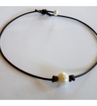 Seasidepearls30A Leather Choker Necklace inches in Women's Choker Necklaces