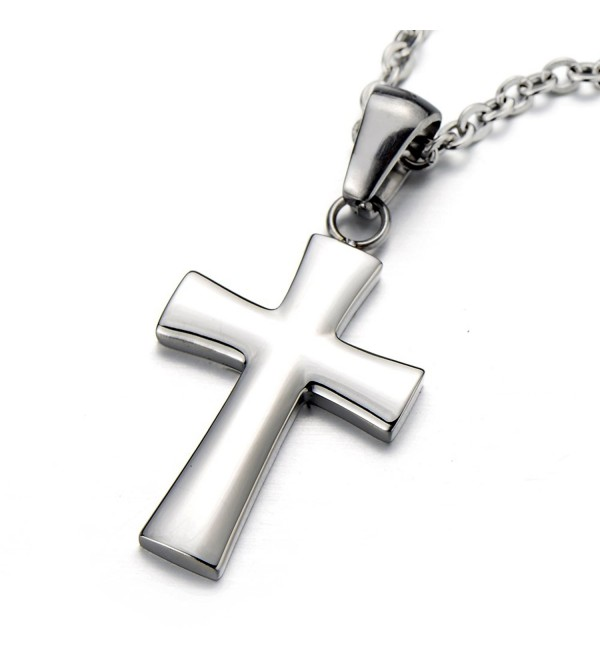 Small Unisex Cross Pendant Necklace for Men for Women Stainless Steel with 20 Inches Chain - CR11PD6OXA5