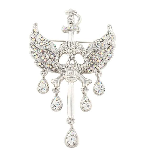 EVER FAITH Austrian Crystal Halloween Skull Bone Angle Wing Teardrop Brooch Pendant - Clear Silver-Tone - CC11OVZOZJT