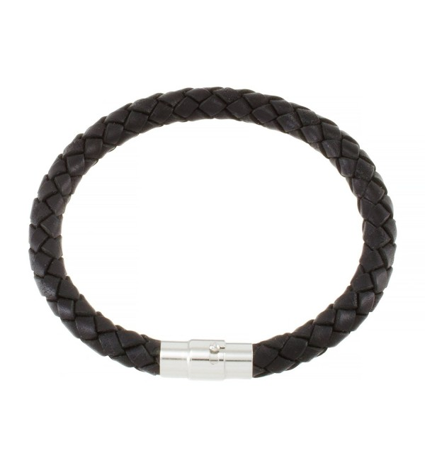 "Magnetic 5mm Black Braided Leather Wrist Bracelet 6.5"" BB0500BLK_MSP - C01165FC8FV"