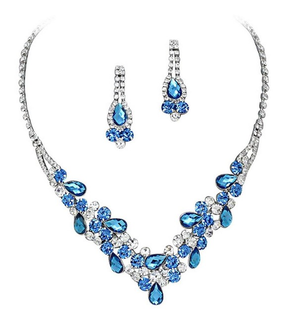 Elegant Multi Blue V-Shaped Rhinestone Crystal Garland Prom Bridesmaid Necklace Set Silver Tone K3 - CL12HCTTOBT