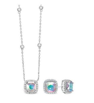 Lesa Michele Cubic Zirconia & Aurora Borealis Cushion Pendant & Stud Earring Set in Sterling Silver - CU187ZYIZ58
