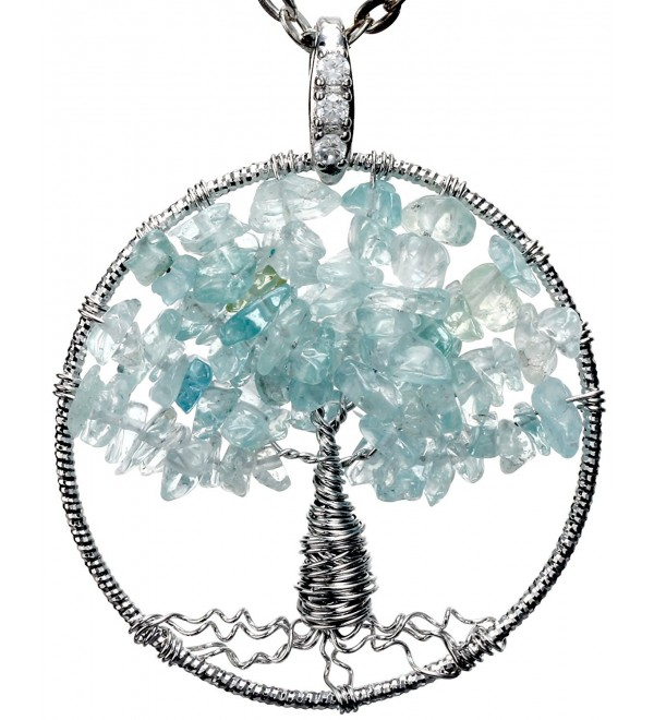 "Wish Tree of Life Gemstone Necklace Best Friend Jewelry for Gift 18"" 24"" Chains - CG11YKOE6AN"