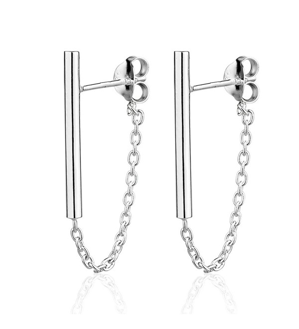 925 Sterling Silver Single Vertical Bar Post & Dangle Chain Backing Stud Earrings - CJ12N7X3FSP