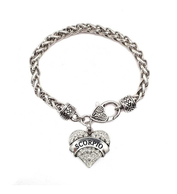 Scorpio Zodiac 1 Carat Classic Silver Plated Heart Clear Crystal Charm Bracelet Jewelry - CO11VDKSJ15