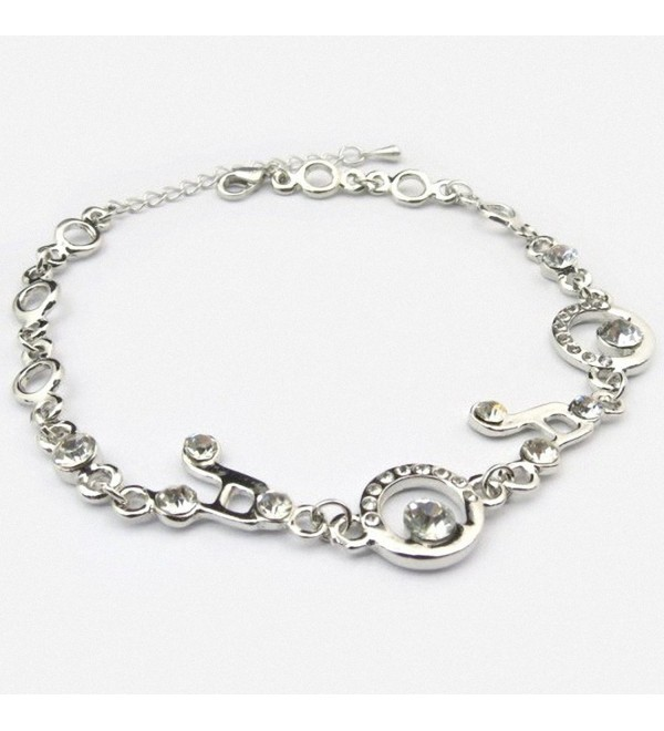 Clear Crystal Music Clef Note Musician Silver Plated Charm Bracelet - CQ11V8C9Q83