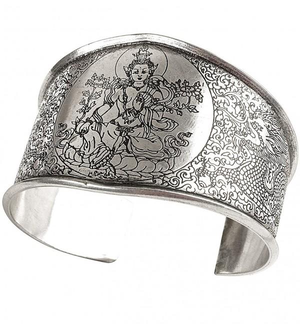 Tribe Azure Tara Dragon Wide Cuff Bracelet Healing Buddhist Yoga Boho Bohemian Hippie Men Women Spiritual - CF18703S2EG